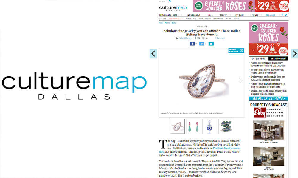 Fabulous fine jewelry you can afford- culture map article for pratiksha jewelry