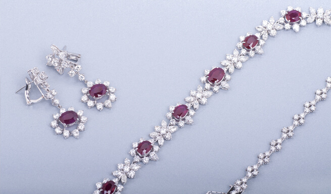ruby halo earrings and necklace